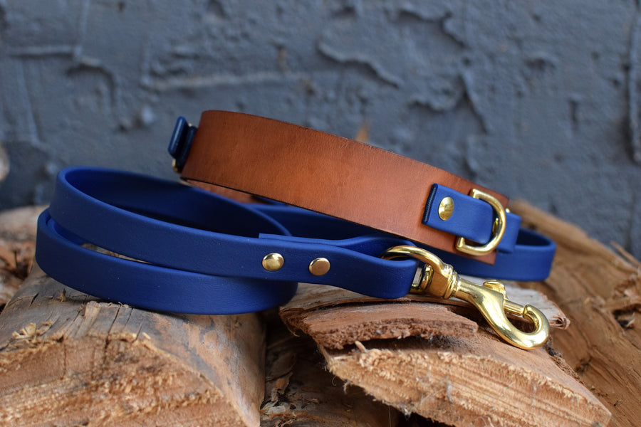 PREMADE COLLECTION - Timber & Navy, Limited Edition Biothane and Leather Combo Martingale Dog Collar