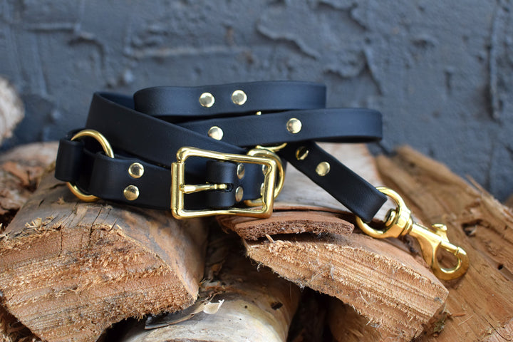 PREMADE COLLECTION - Black & Brass Convertible Biothane Hands-Free Waist Leash