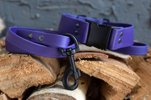 PREMADE COLLECTION - Purple & Black Biothane Dog Leash