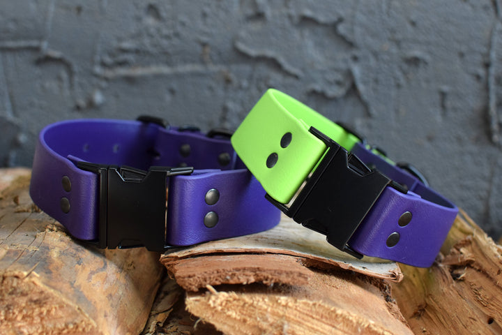 PREMADE COLLECTION - Purple & Black Biothane Dog Collar