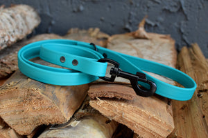 PREMADE COLLECTION - Teal & Black Biothane Dog Leash