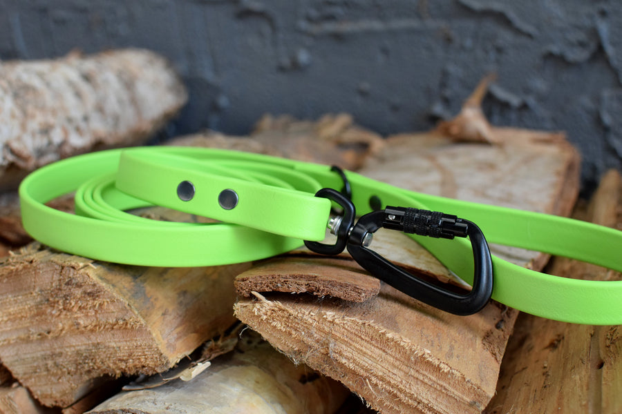 PREMADE COLLECTION - Lime & Black Biothane Dog Leash