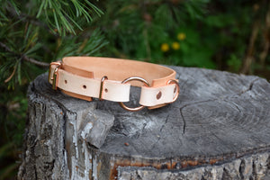 The Osgiliath Collar: Natural Tan & Rose Gold Leather Dog Collar