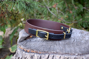 The Osgiliath BT Collar: Brown & Black Biothane Dog Collar