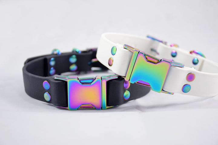 Design Your Own - The Elessar QR BT Collar, Biothane & Gasoline Rainbow Dog Collar