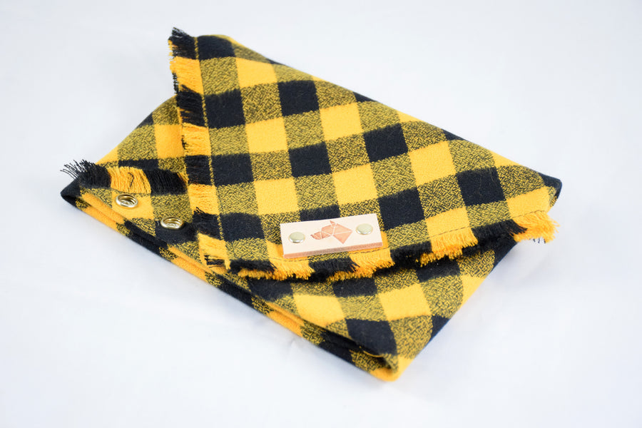 DIJON Fringed Flannel Dog Bandana - Snap/Tie On Cotton Scarf