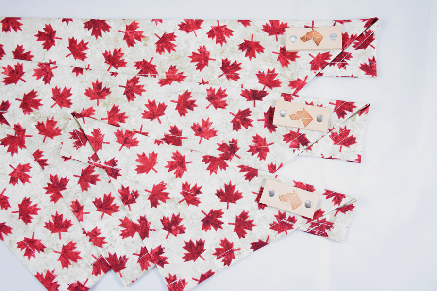 Dog Bandana - Maple Syrup Canada Day Cotton Dog Scarf