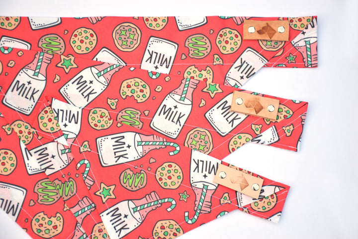 Dog Bandana - Milk & Cookies Winter Holiday Cotton Dog Scarf