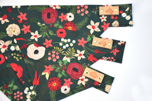 Dog Bandana - Winter Flowers Winter Holiday Cotton Dog Scarf
