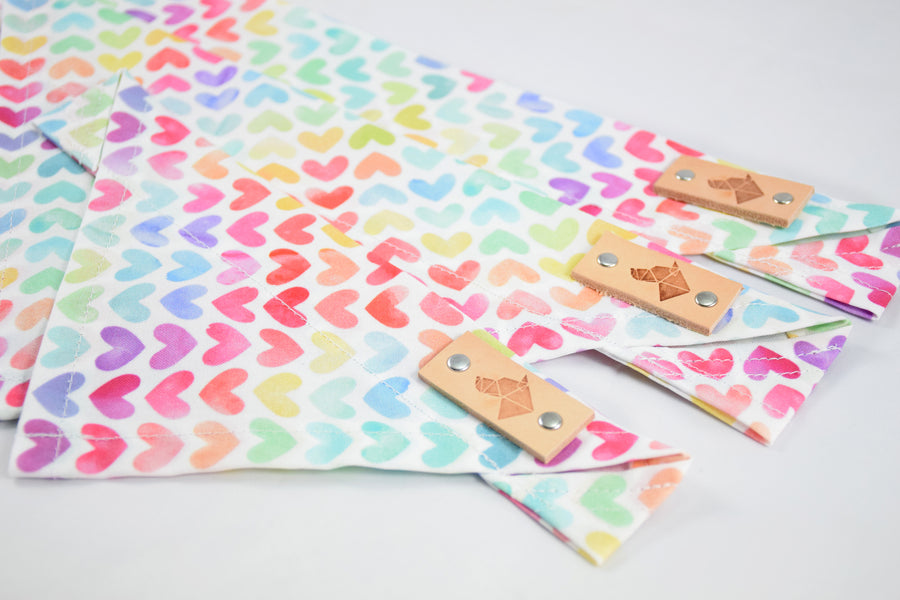 Dog Bandana - Pastel Hearts Pride Cotton Dog Scarf