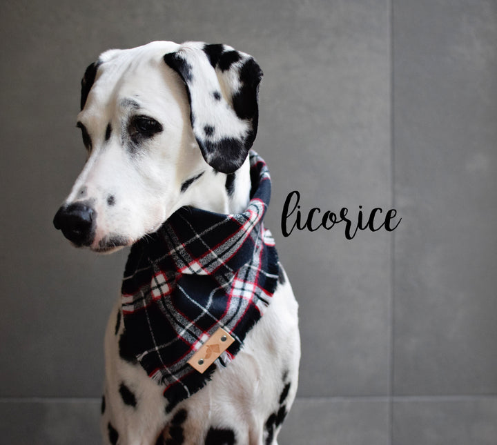LICORICE Fringed Flannel Dog Bandana - Snap/Tie On Cotton Scarf
