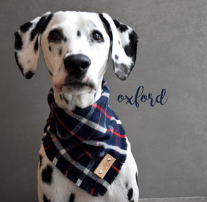 OXFORD Fringed Flannel Dog Bandana - Snap/Tie On Cotton Scarf