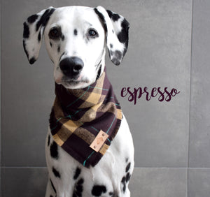 ESPRESSO Fringed Flannel Dog Bandana - Snap/Tie On Cotton Scarf