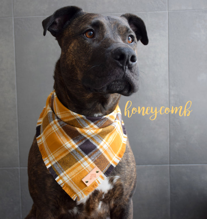HONEYCOMB Fringed Flannel Dog Bandana - Snap/Tie On Cotton Scarf