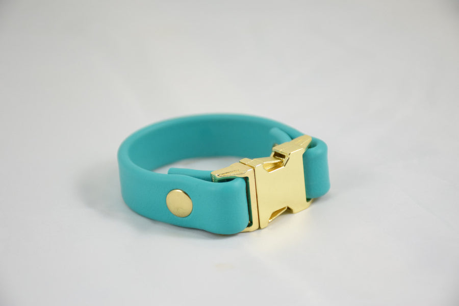 The Meriadoc BT Bracelet: Teal & Brass Matching Dog Collar Friendship Bracelet