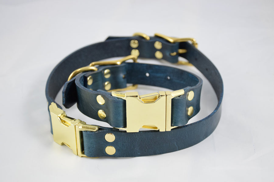 The Elessar QR Collar: Navy Blue & Brass Quick Release Leather Dog Collar