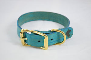The Elessar Collar: Teal & Brass Leather Dog Collar