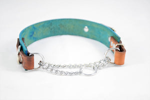 The Anduril Collar: Teal & Timber Adjustable Leather Martingale Dog Collar
