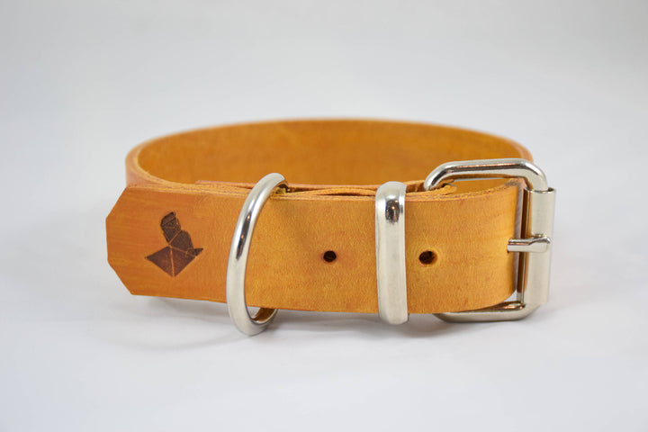 The Pelennor Collar: Yellow Leather Dog Collar