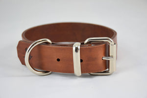 The Pelennor Collar: Timber Brown Leather Dog Collar