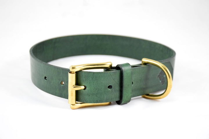 The Undomiel Collar: Forest Green Leather Dog Collar