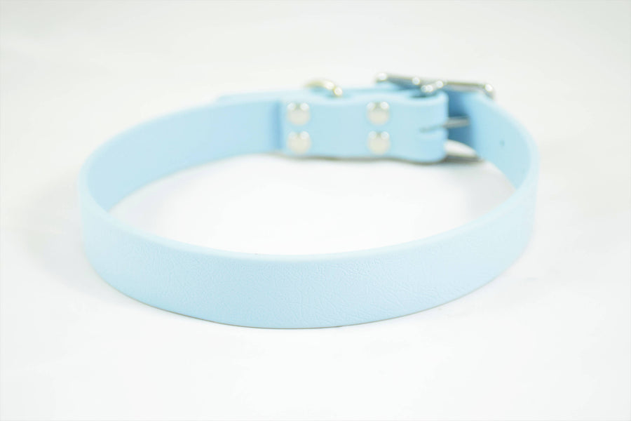 The Shire BT Collar: Pastel Blue & Nickel Biothane Dog Collar