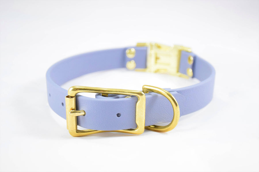 The Elessar QR BT Collar: Grey & Brass Biothane Dog Collar