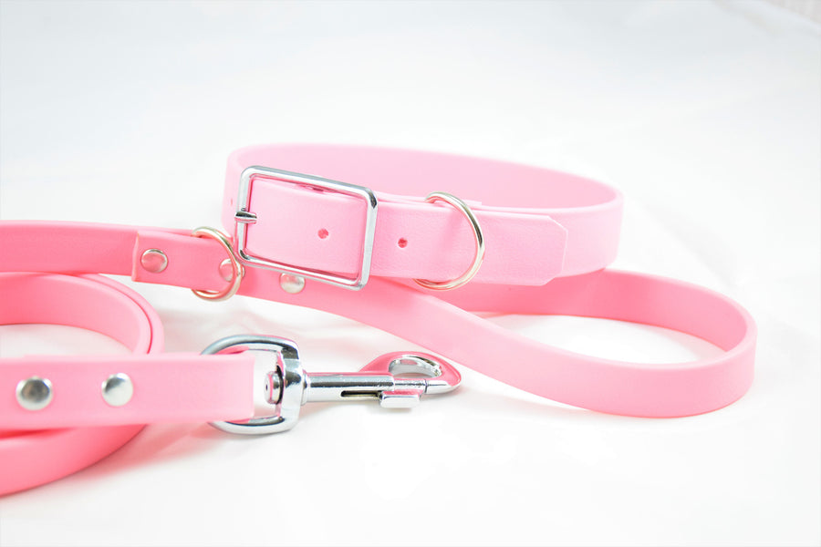 Biothane & Nickel Dog Leash - Pastel Pink