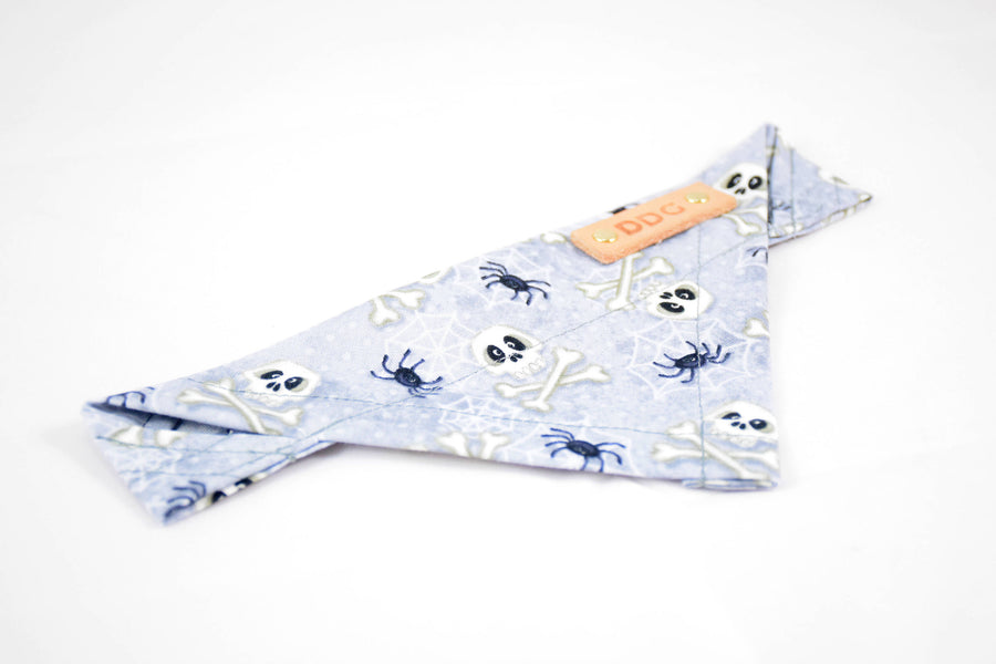 Dog Bandana - Spiders & Skulls Halloween Cotton Dog Scarf