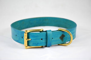 The Undomiel Collar: Teal Leather Dog Collar