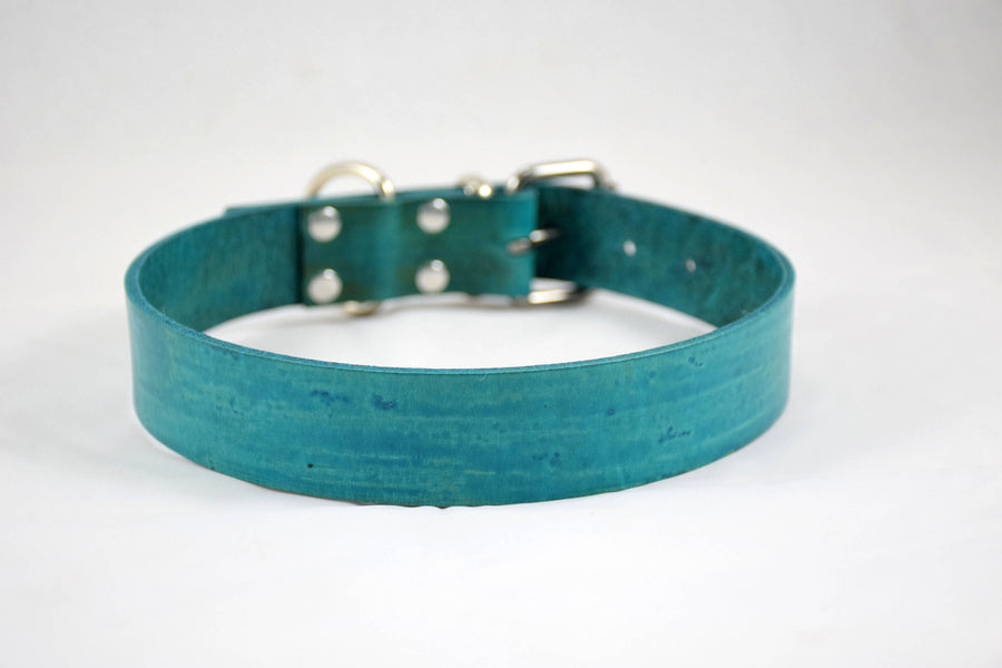 The Pelennor Collar: Teal Leather Dog Collar