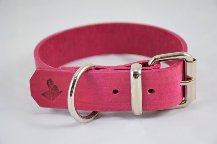 The Pelennor Collar: Pink Leather Dog Collar
