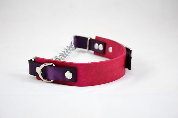 The Anduril Collar: Pink & Violet Adjustable Leather Martingale Dog Collar