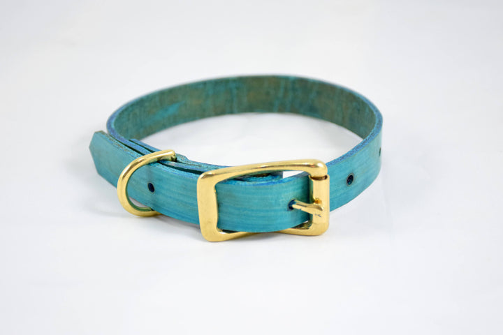 The Halfling Collar: Teal & Brass Leather Dog Collar