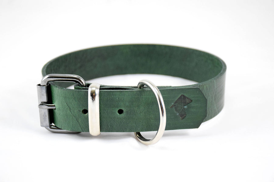 The Pelennor Collar: Forest Green Leather Dog Collar