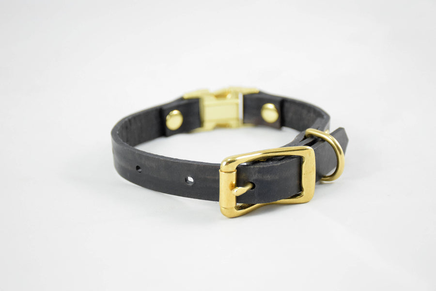 The Halfling QR Collar: Walnut & Brass Quick Release Leather Dog Collar
