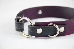 The Osgiliath Collar: Deep Violet & Walnut Leather Dog Collar