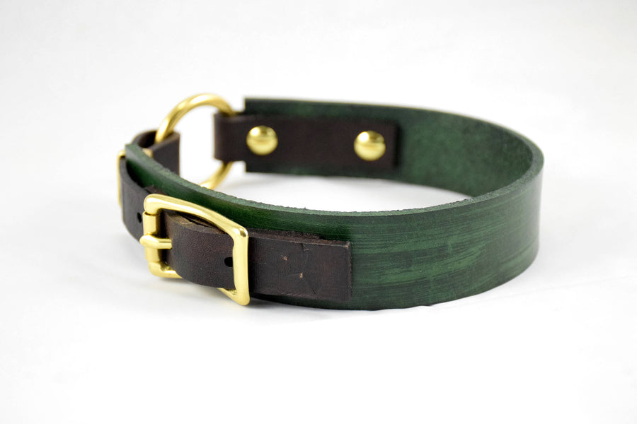 The Osgiliath Collar: Forest Green & Chocolate Brown Leather Dog Collar