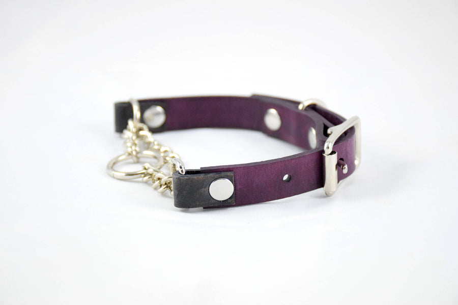 The Narya Collar: Deep Violet & Walnut Adjustable Leather Martingale Dog Collar