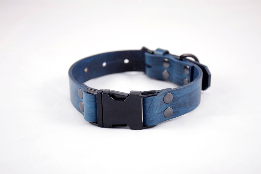 The Elessar QR Collar: Navy Blue & Black Quick Release Leather Dog Collar