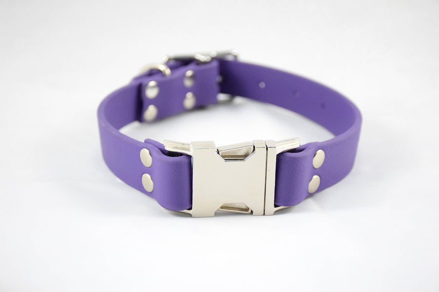 The Shire QR BT Collar: Purple & Nickel Biothane Dog Collar