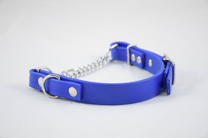 The Anduril BT Collar: Royal Blue & Nickel Adjustable Biothane Martingale Dog Collar