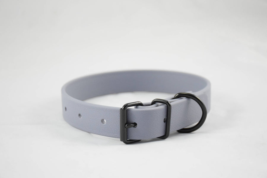 The Elessar BT Collar: Grey & Black Biothane Dog Collar