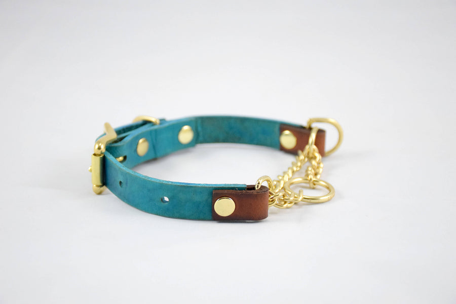 The Narya Collar: Teal & Timber Adjustable Leather Martingale Dog Collar