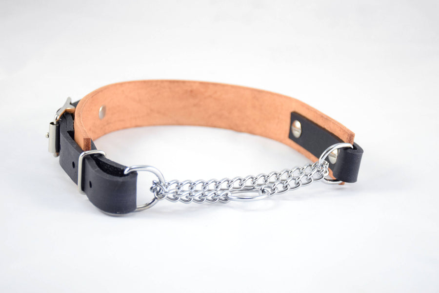 The Anduril Collar: Natural Tan w/ Black Adjustable Leather Martingale Dog Collar