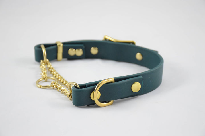 The Rohirrim BT Collar: Forest Green & Brass Adjustable Biothane Martingale Dog Collar