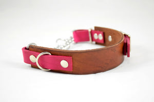 The Anduril Collar: Timber & Pink Adjustable Leather Martingale Dog Collar