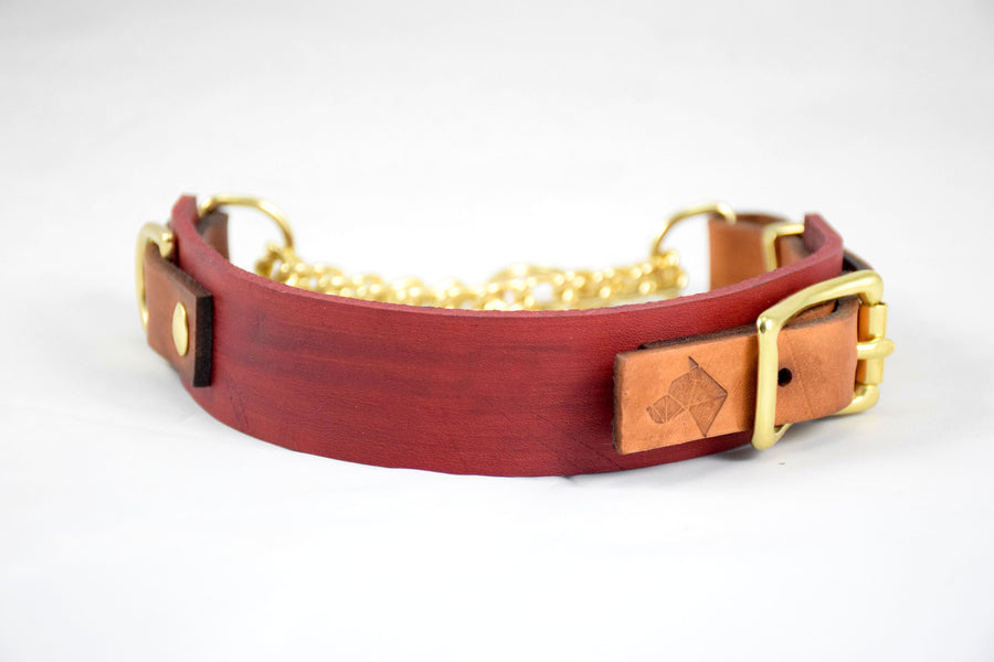The Rohirrim Collar: Red & Timber Adjustable Leather Martingale Dog Collar
