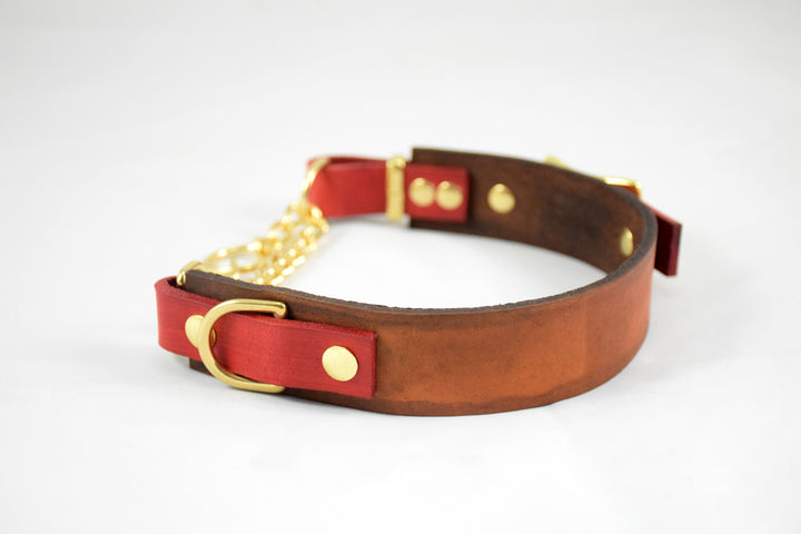The Rohirrim Collar: Timber & Red Adjustable Leather Martingale Dog Collar