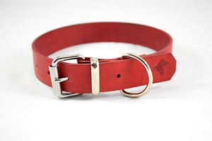 The Pelennor Collar: Red Leather Dog Collar